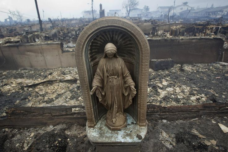 Hurricane Sandy - Then and now - statue