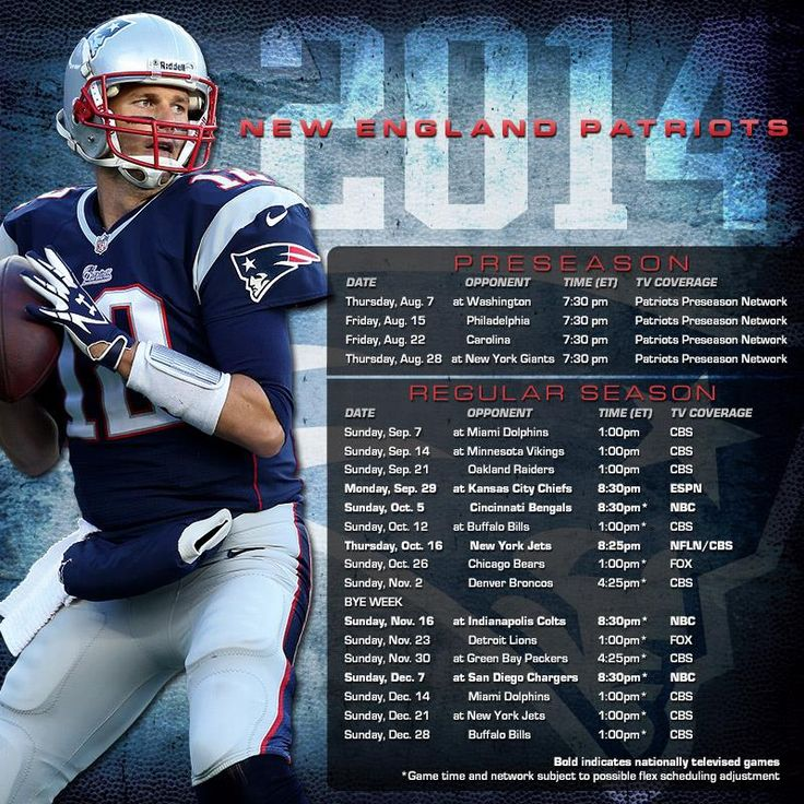 New England Patriots 2014 Schedule- Only 134 days until Kickoff!!!!!!!