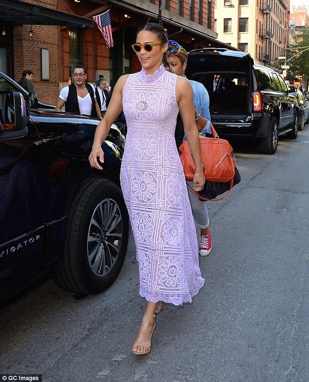 'Growing older is good!' Paula Patton is lovely in lilac as she steps out in New York on Thursday