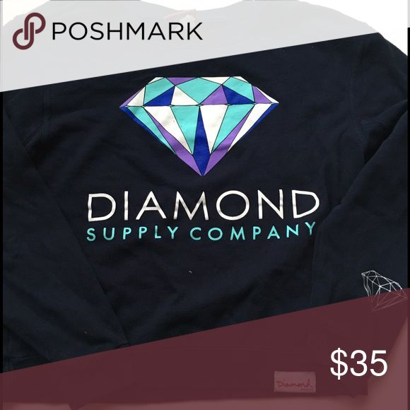 "Diamond Supply Company navy sweat shirt 70% cotton 30% polyester shoulder seam to bottom 19.5"" arm length 22.5"" great condition Diamond Supply Co. Tops Sweatshirts & Hoodies"