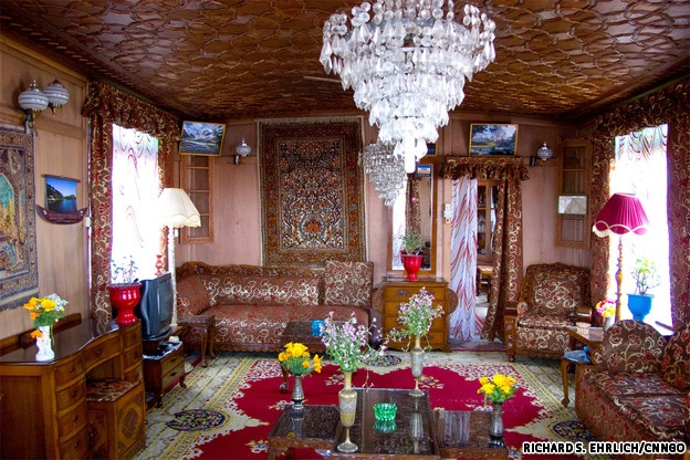 Inside the houseboats, Dal Lake, Srinagar, Kashmir
