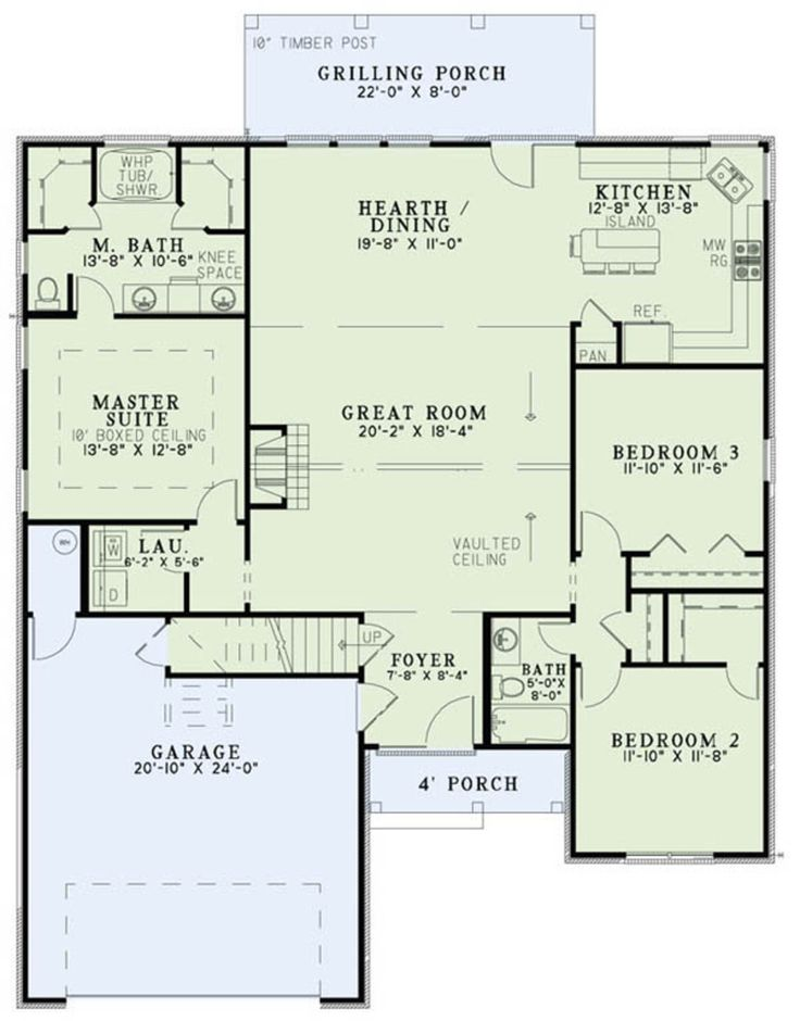 European House Design Plan: Country 3 Beds 2 Baths 1711 Sq/Ft Plan #17-2483 Main Floor