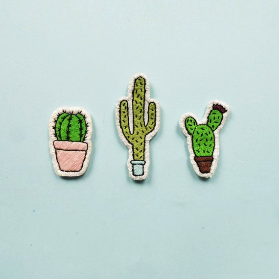 Hey guys! I present you the totally handembroidered set of 3 Cacti Patches Measurements: pink pot cactus - 5x3 cm blue pot cactus - 7,5x3 cm brown