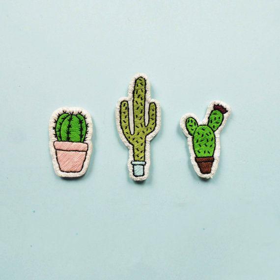 Cactussen Patches set van 3 van CoolStitchees op Etsy
