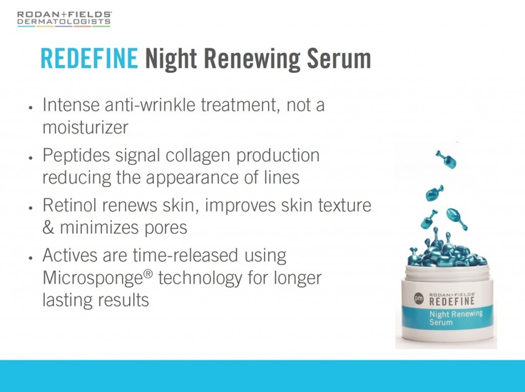 REDEFINE Night Renewing Serum, packaged in a mono-dose capsule, contains a potent, proprietary blend of peptides & retinol to reduce the appearance of wrinkles & visibly increase skin firmness. Retinol, favored by dermatologists for decades, enhances cell turnover to improve skin texture & minimize the appearance of pores. Patented time-release technology increases skin's receptivity throughout the night while reducing potential irritancy.