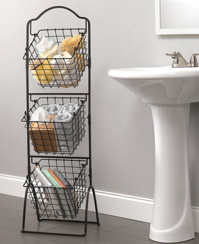 Mikasa Metal Basket Small Bathroom Storage Wire Basket Storage Space Saving Bathroom