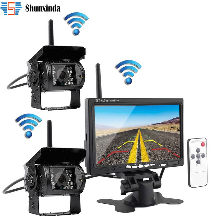 "Wireless Dual Kamera Bantuan Parkir Night Vision Waterproof Rear View Kamera Backup + 7 ""Monitor untuk Truk Trailer RV Bus"
