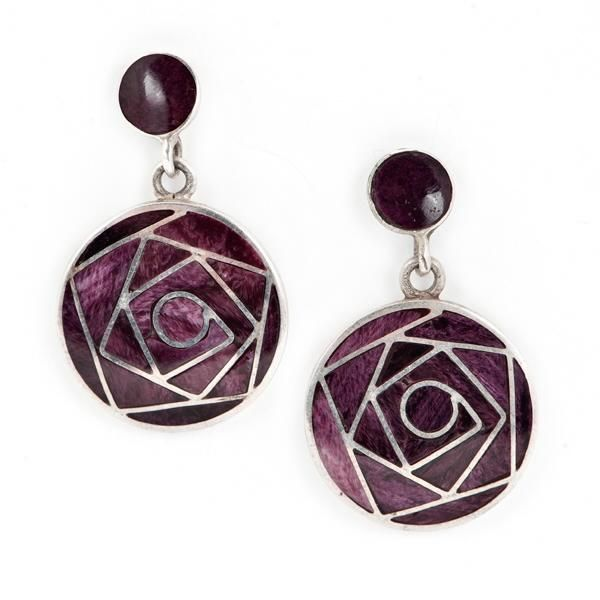 Pendientes Rosa de los Andes Púrpura. Pendientes de plata y spondylus púrpura. www.ccusi.com