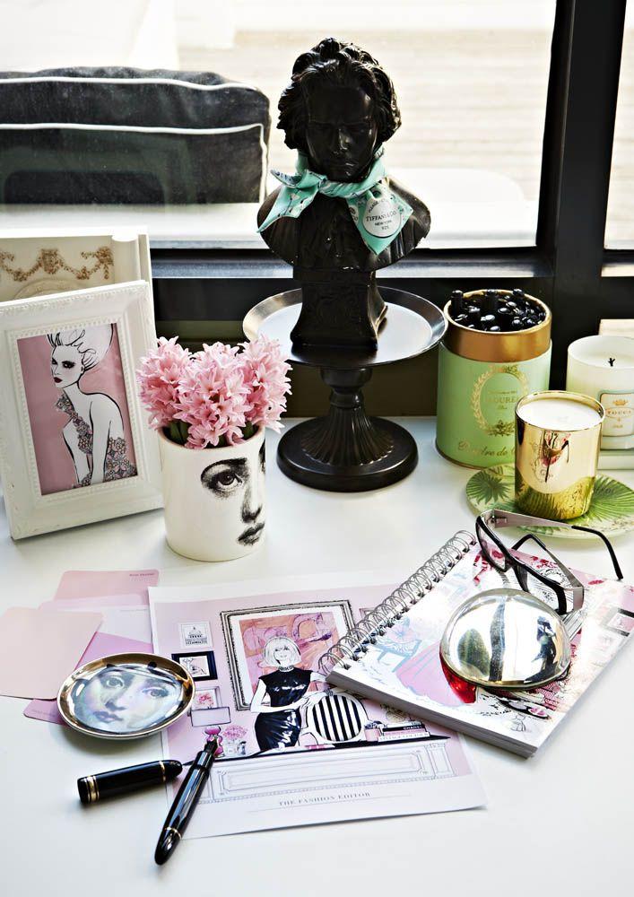 Beautiful desk tableau {via Adore Home magazine - Megan Hess' home}