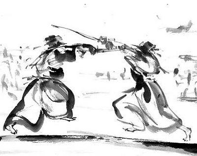 Sumi-e watercolor technique of a Samurai battle...