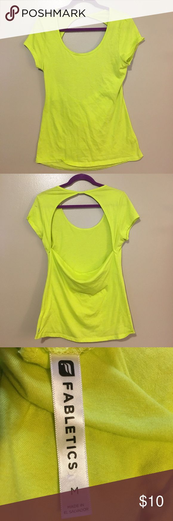 Fabletics Top Neon yellow/green Fabletics Top, open back, short cuff sleeves, size M, never worn, perfect condition Fabletics Tops Tees - Short Sleeve