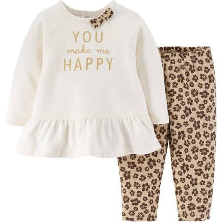 Child Of Mine by Carter's Newborn Baby Girl Top and Pants Outfit 2-Piece Set - Walmart.com