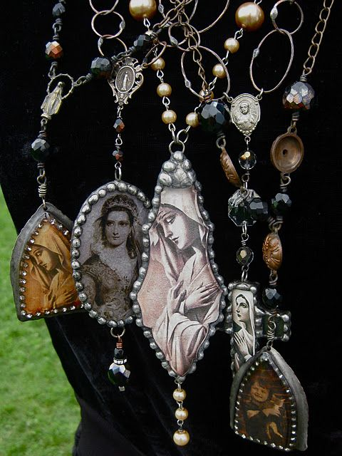 some of my vintage religious images used in my jewelry designs