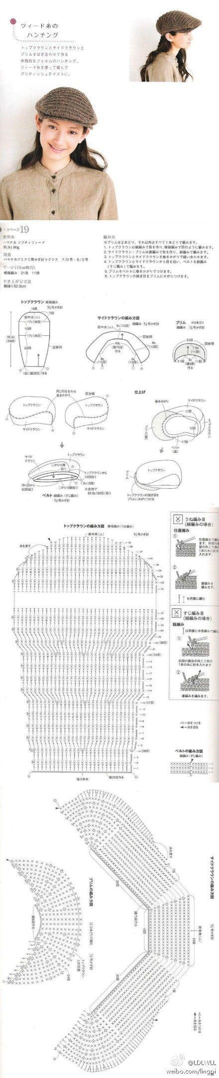 de sombrero de ganchillo esquina de ganchillo crochet coser pin