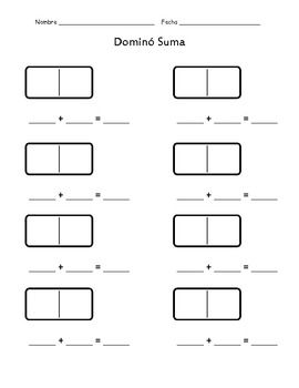domino addition and subtraction spanish math pinterest. Black Bedroom Furniture Sets. Home Design Ideas