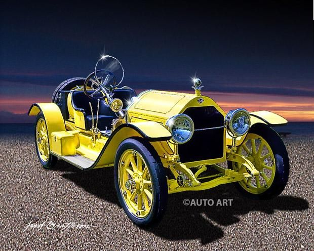 Auto Art 1915 Stutz Bearcat Classic Car Print Auto Poster Aw44 Old Classic Cars Classic Cars Race Cars