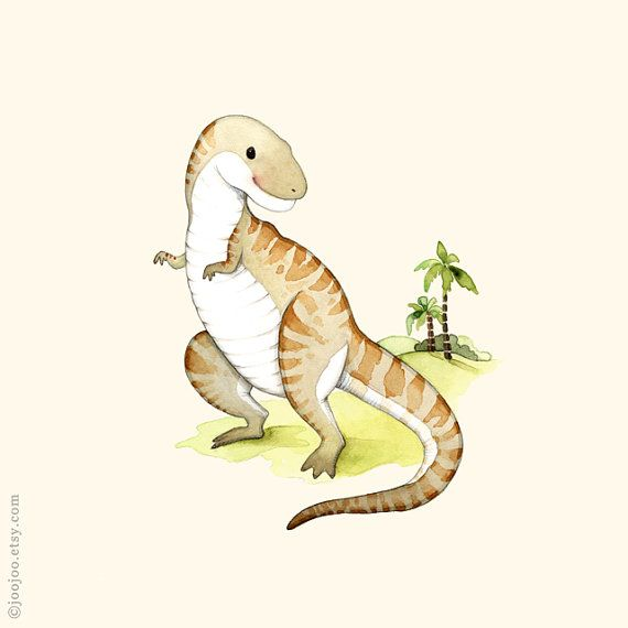 T-Rex print, Dinosaur poster, Dinosaur art, Dinosaur painting, Dinosaur wall art, Boys room, watercolor dinosaur, T is for tyrannosaurus