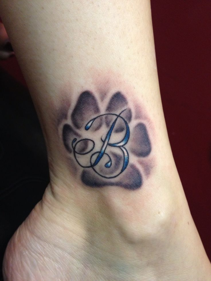 Dog paw print tattoo in honor of my favorite beast of a Dog, Brady ! Tattooed  by Kris Patay -NY Amazing artist. This was done free hand!
