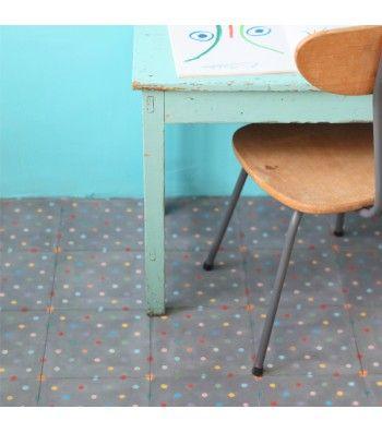 carreau de ciment petit pois multicolore charbon de bois petit pan vivre en multicolore. Black Bedroom Furniture Sets. Home Design Ideas