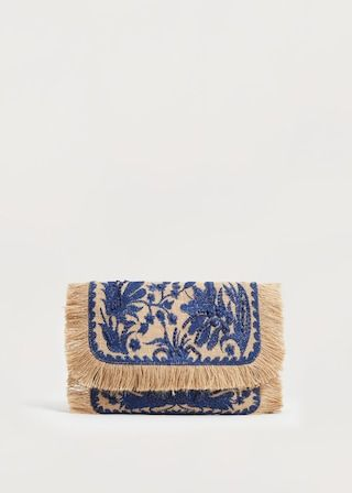 Jute flowers clutch | VIOLETA BY MANGO