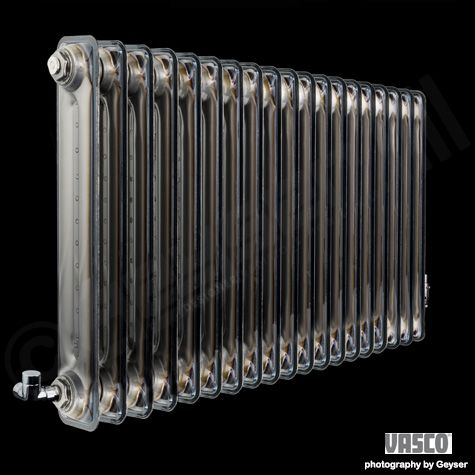 "VASCO ""Vintage 50"" Clear Lacquer Horizontal 2 Column Deep Designer Radiator"