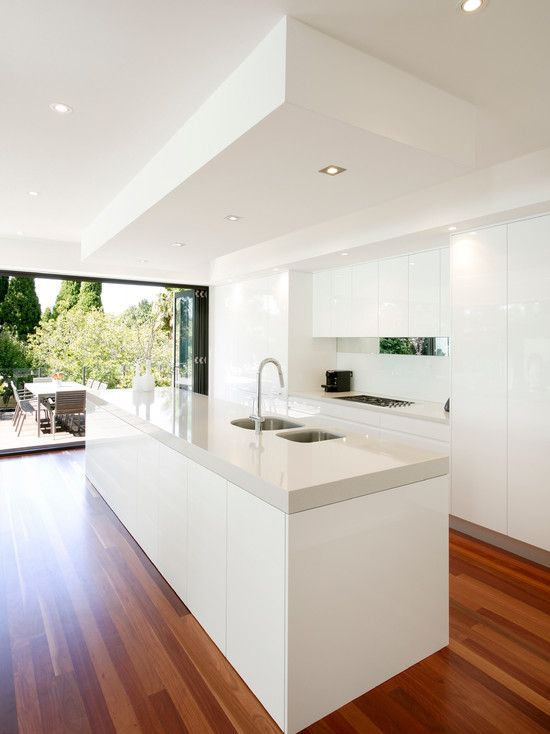 Kitchen Design, Exquisite Modern Kitchen Designs With White Modern Kitchen Island With White Marble Countertop Also Modern Faucet And Small ...