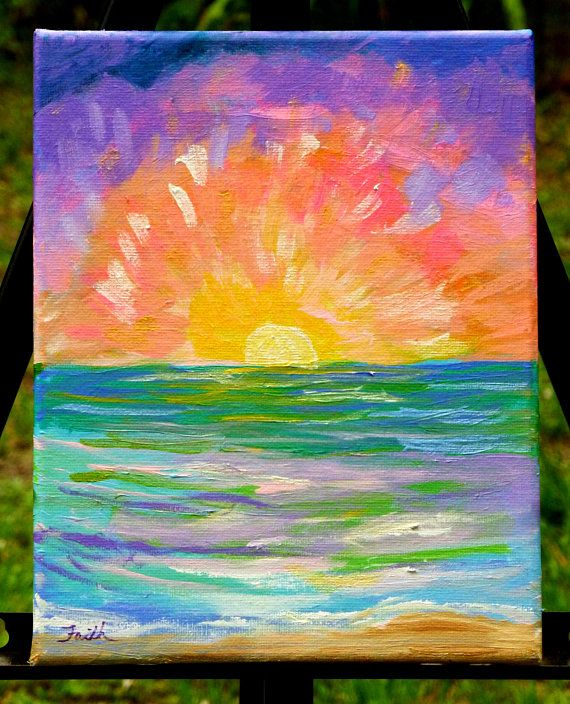 Sunrise 10x8 Inspirational Painting Sunrise Painting Abstract