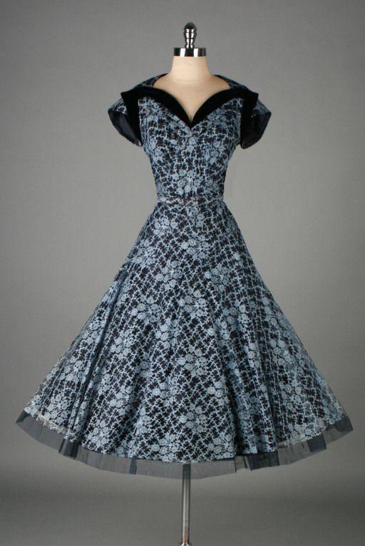1950's Norman Blue Lace Dress