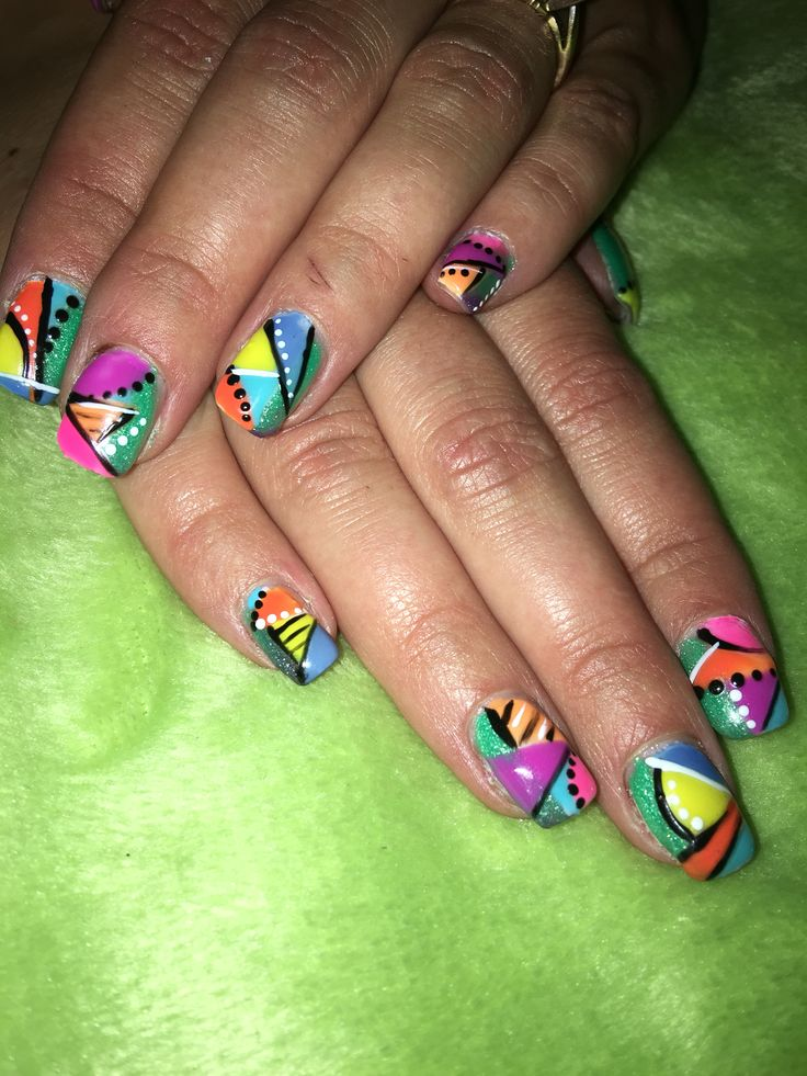 Bright colors requested!! Pinn orange green blue yellow eith blavkband white lines and dots. Crazy fun nails.