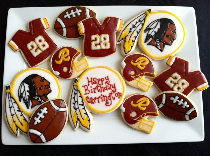 Washington Redskins - NFL Cookies - Football Cookies - Party Favors - Wedding - Grooms Table - Decorated Sugar Cookies. $35.00, via Etsy.