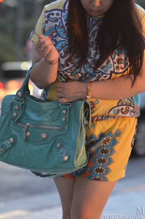 #balenciaga turquoise bag