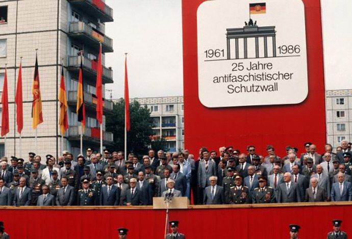 """The official GDR celebration of 25 years of the """"Anti-Fascist Rampart"""" (Image from bukarest.diplo.de)"""
