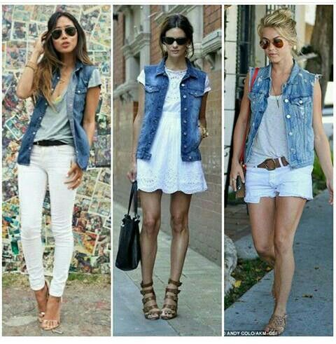 Denim Vest and White Outfits