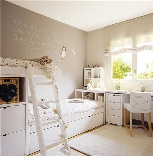 Nice overlapping loft beds and seamless integration into desk at window girls room ideas - Nice girls rooms ...