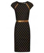 Goudkleurig kleed met zwarte stippen
