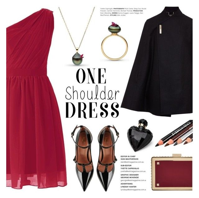 """""""Party Style: One-Shoulder Dress"""" by littlehjewelry ❤ liked on Polyvore featuring Ted Baker, RED Valentino, Valentino, Lipsy, contestentry, OneShoulderDress, pearljewelry and littlehjewelry"""