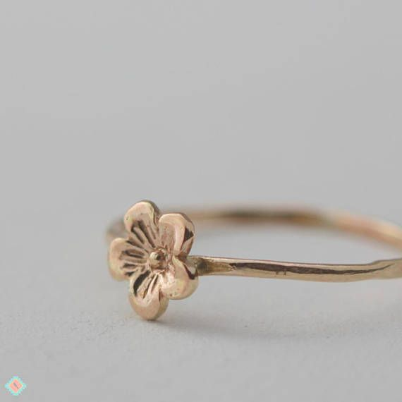 96b12fb33b4db Tiny Gold Flower Ring, Solid Gold Flower, Flower Stacking ring in ...