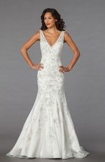 Bridal Gowns: Alita Graham Mermaid Wedding Dress with V-Neck Neckline and Dropped Waist Waistline