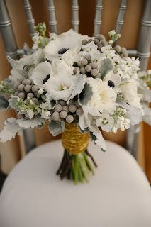 love love love this anemone, brunia, dusty miller bouquet