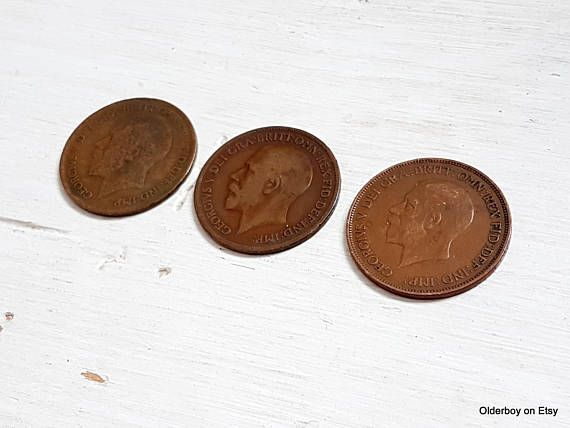 3 vtg PENNYs 1918 1919 1931 collectible coins pence coins uk