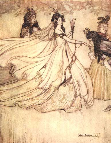 Arthur Rackham illustration from Grimm, Jacob and Wilhelm. The Fairy Tales of the Brothers Grimm. Mrs. Edgar Lucas, translator. Arthur Rackham, illustrator. London: Constable & Company Ltd, 1909.