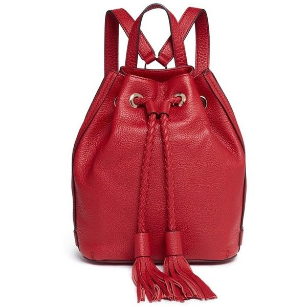 Rebecca Minkoff 'Isobel' small drawstring tassel leather backpack featuring polyvore, women's fashion, bags, backpacks, red, leather rucksack, drawstring bag, red leather backpack, red drawstring backpack and leather backpack