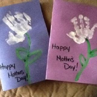 Mothers day handprint cards crafts
