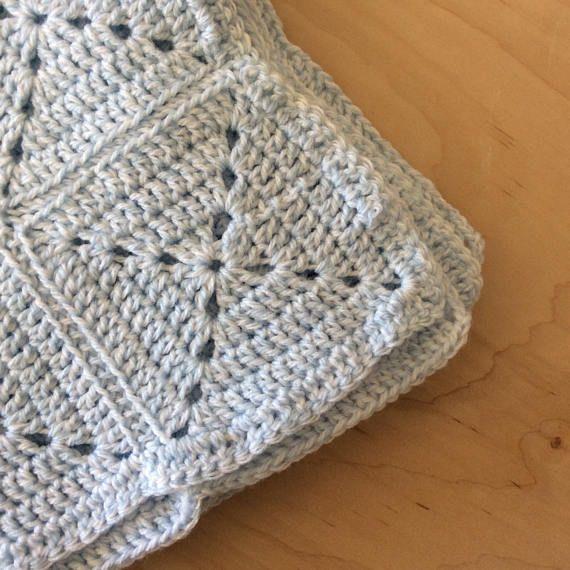blue knitted baby blanket blue crochet baby blanket granny