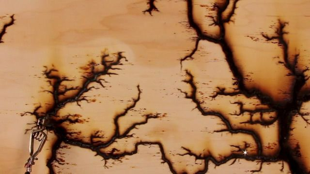 High Voltage Erosion: 15,000 Volts Travels Through Wood