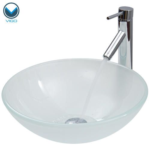 VIGO White Frost Vessel Sink And Faucet Set In Chrome At Menards Bathroom I