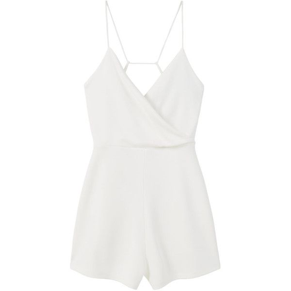 MANGO Wrap Neckline Jumpsuit ($40) ❤ liked on Polyvore featuring jumpsuits, rompers, dresses, romper, playsuits, tops, open back jumpsuit, jump suit, open back romper and white romper jumpsuit