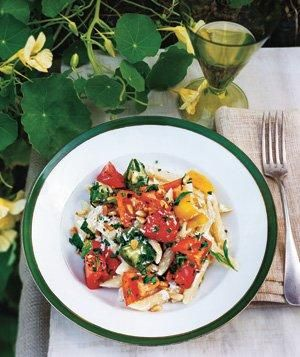 Rebecca Miller's Pasta With Ricotta and Heirloom Tomatoes | Now's the time to relish plump, just-off-the-vine tomatoes.