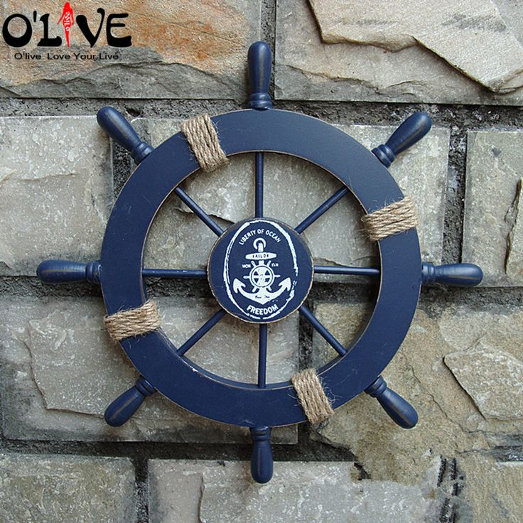 Mediterranean Style Nautical Decor Wooden Helm Crafts Vintage Home Decor Marine Boat Ship Wheel Hanging Wall Decoration Bar >>> Read more info by clicking the link on the image. #HomeDecor