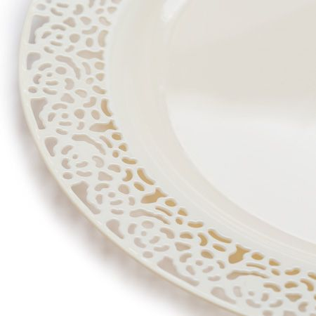 1258 Lace Ivory Plastic Dinnerware Value Pack